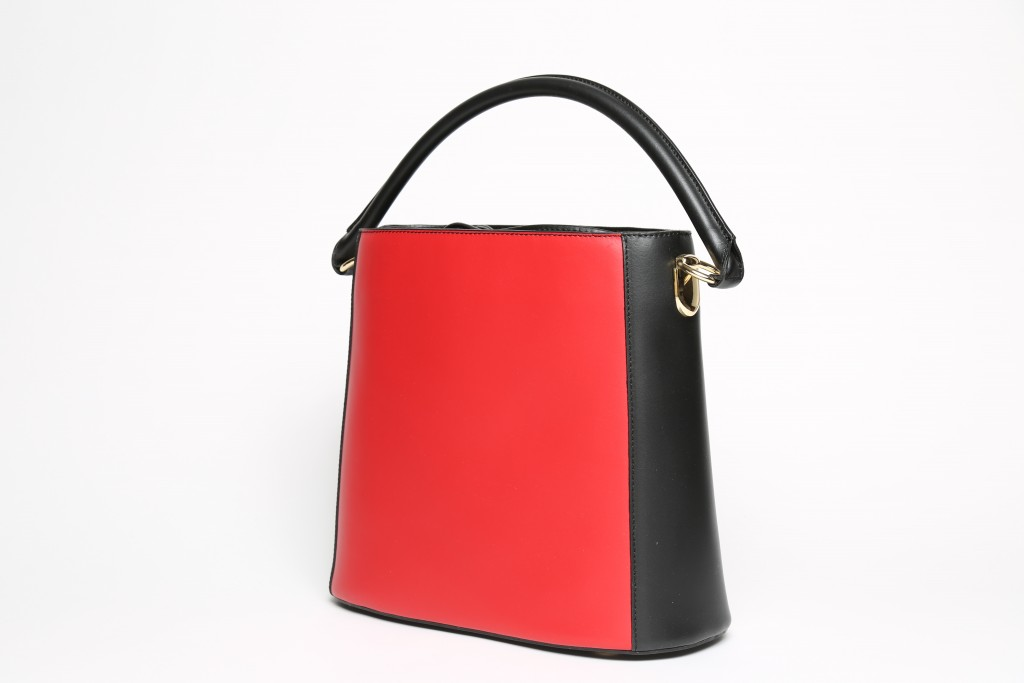 Giland Italian leather red bucket bag