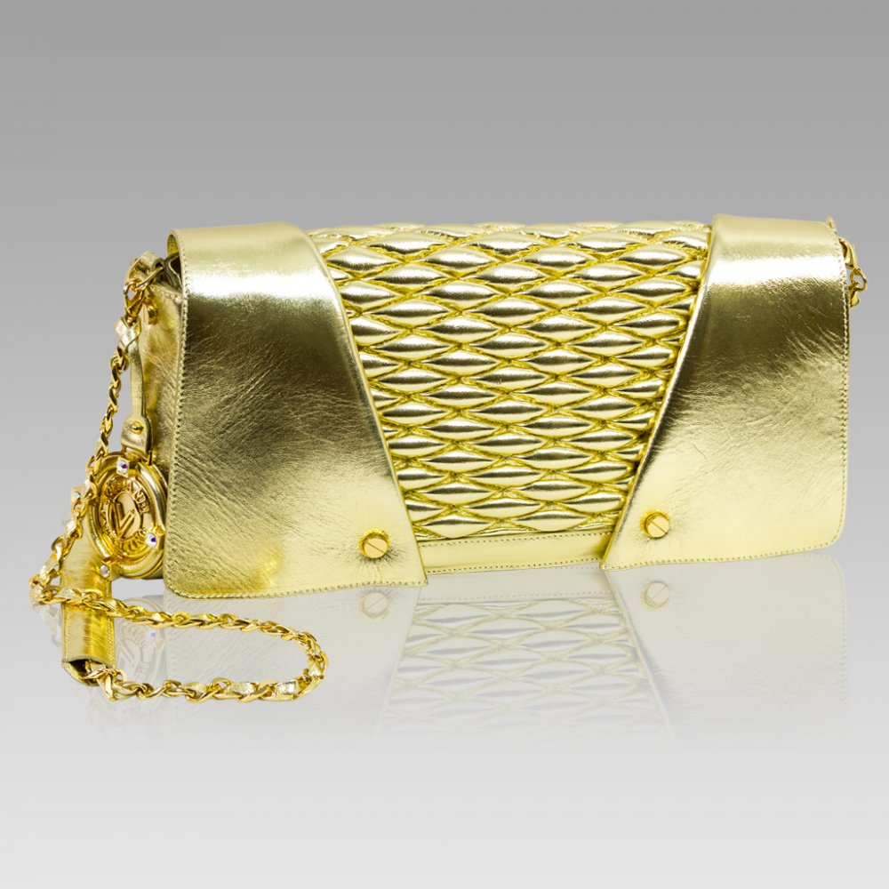 ITALIAN LEATHER GOLD CLUTCH BAG