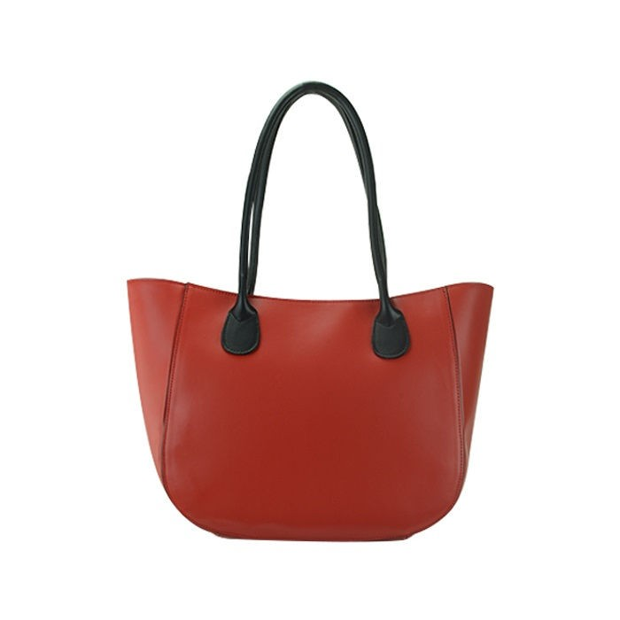 Large Zipper Shopping Tote Bag, Red