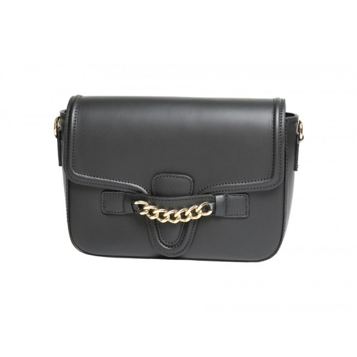Flap Calfskin Leather Shoulder Bag, Black