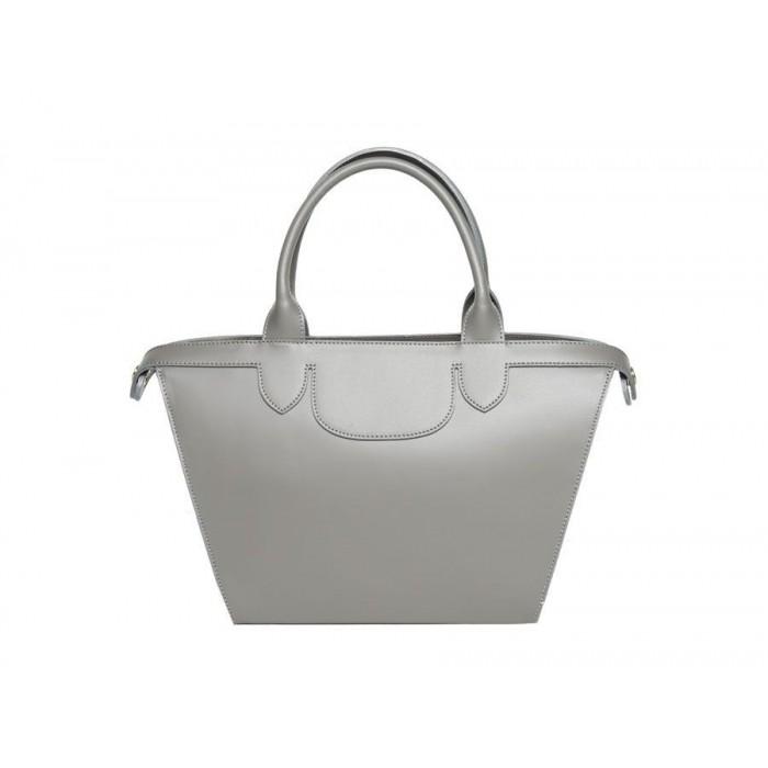 Medium Smooth Calfskin Leather Satchel Bag, Gray