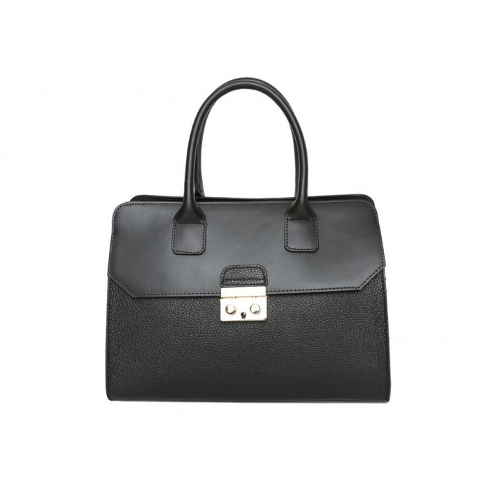 Large Pebble Leather satchel Bag, Black