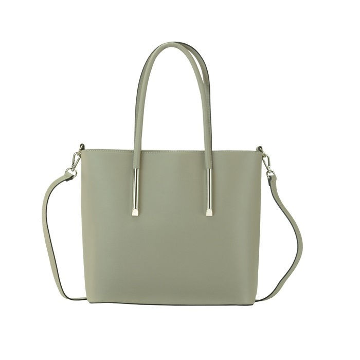 Medium Leather Tote Bag, Taupe