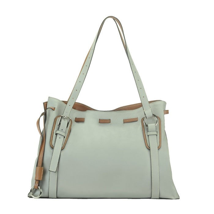 Large Sauvage Leather Tote / Satchel Bag, Light Taupe