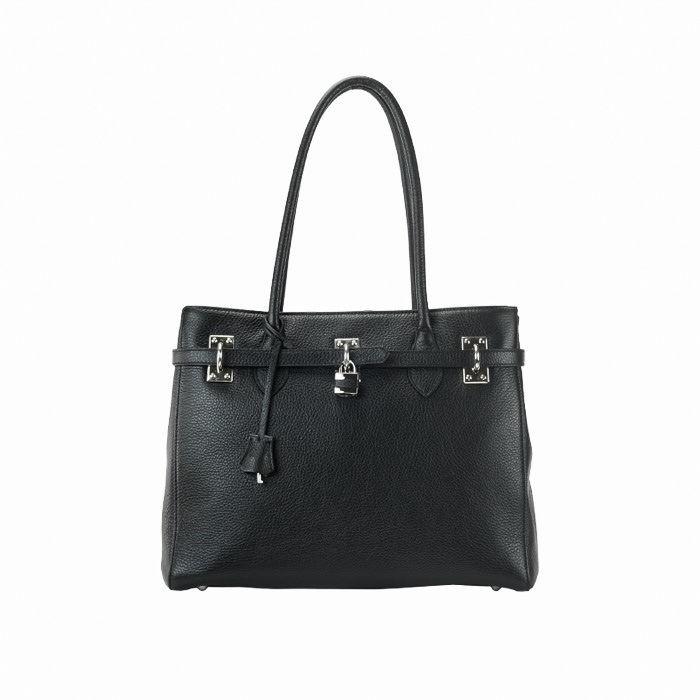 Grained Medium Lux- Zip Top Tote bag, Black