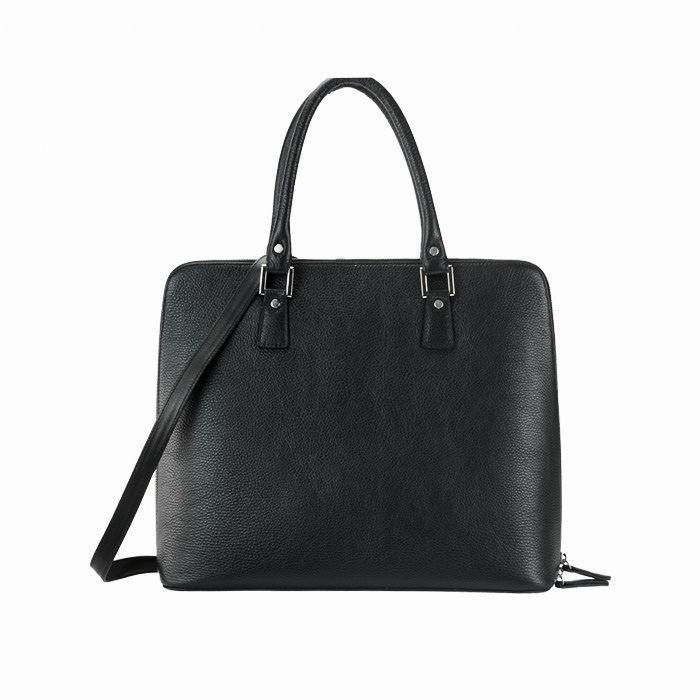 Grained Medium Leather Tote Bag, Black