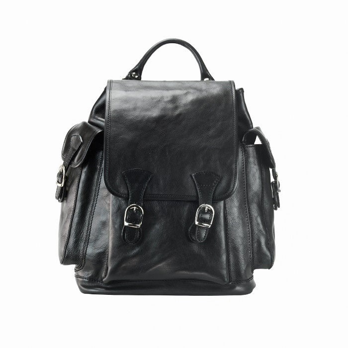 Men Large Calfskin Leather Backpack, Black