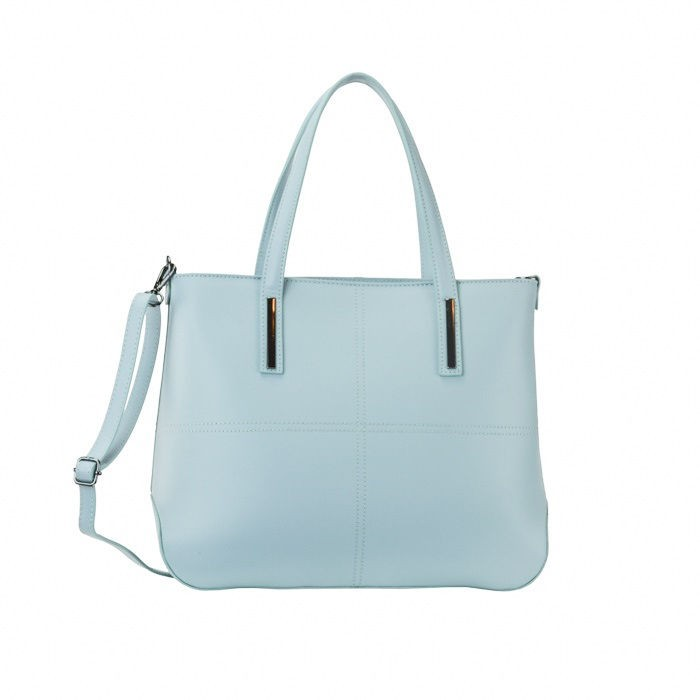 Zip Calf Leather Tote Bag, Blue