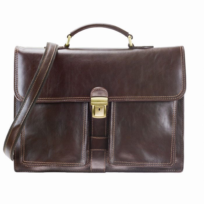 Flap Over Leather Briefcase, Deep Chocolate Brown