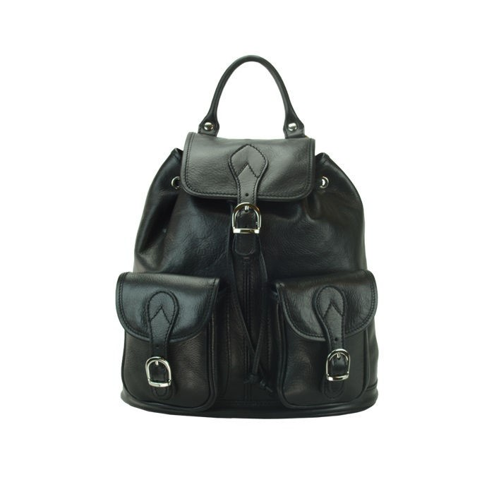 Medium Calfskin Leather Backpack, Black