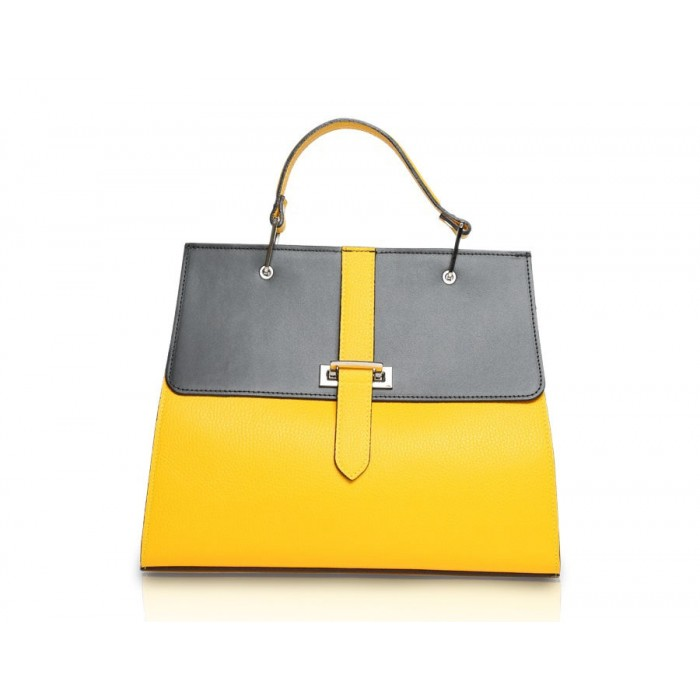 Large Pebble Leather Top-Handle Bag, Black / Yellow