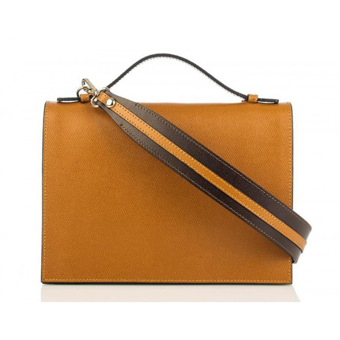Top Handle Grained Leather Shoulder Bag, Cognac