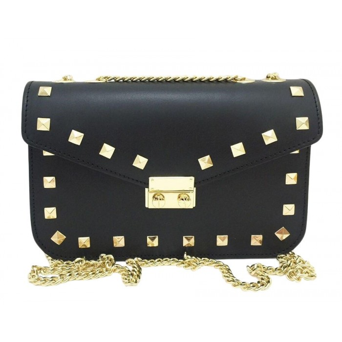 Rock Stud Calfskin Leather Chain Crossbody Bag, Black