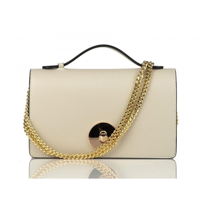 Small Top-Handle Calfskin Chain Crossbody Bag, Beige