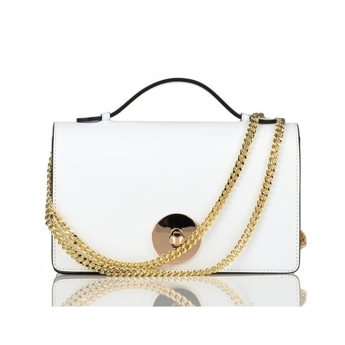 Small Top-Handle Calfskin Chain Crossbody Bag, White
