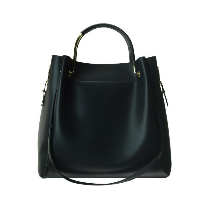 Medium Leather Bucket Bag, Black