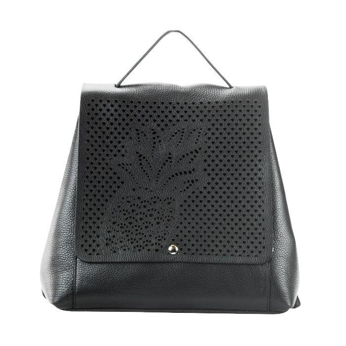 Laser Cut Pebbled Leather Backpack, Black