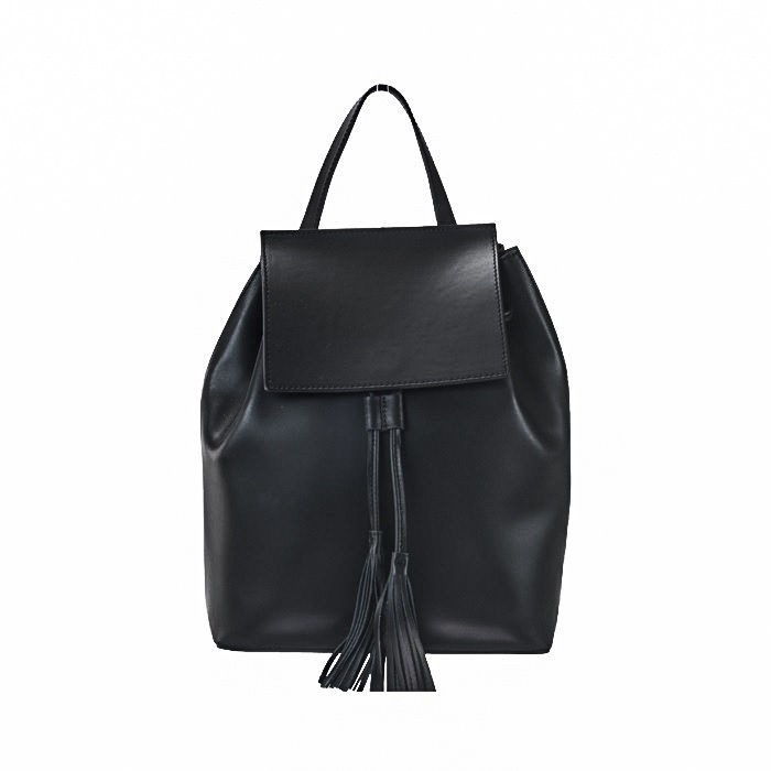Rich Calfskin Leather Backpack, Black