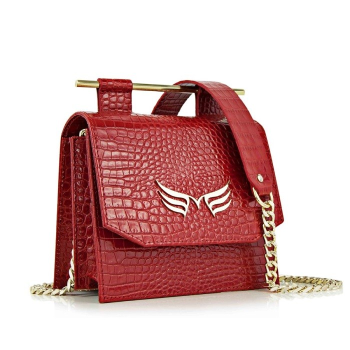 Small Red Crocodile-Embossed Square Bag