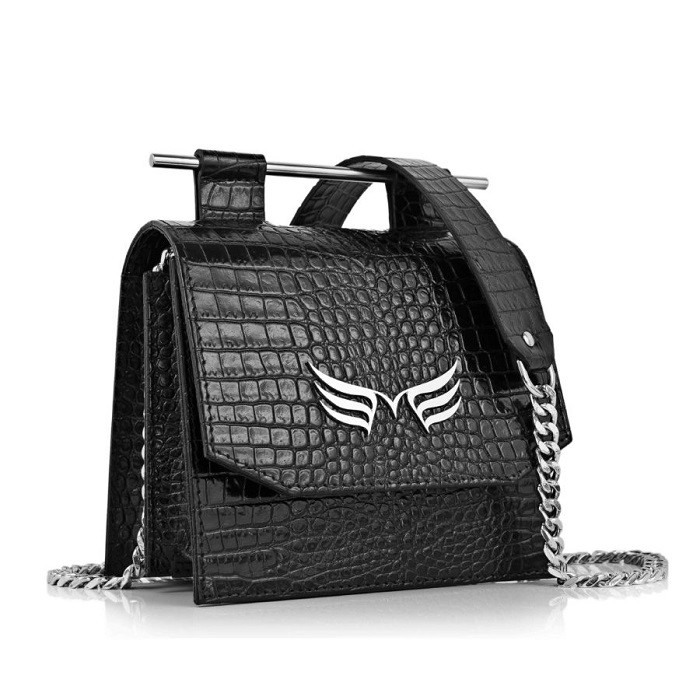 Small Square Crocodile-Embossed Bag in Black