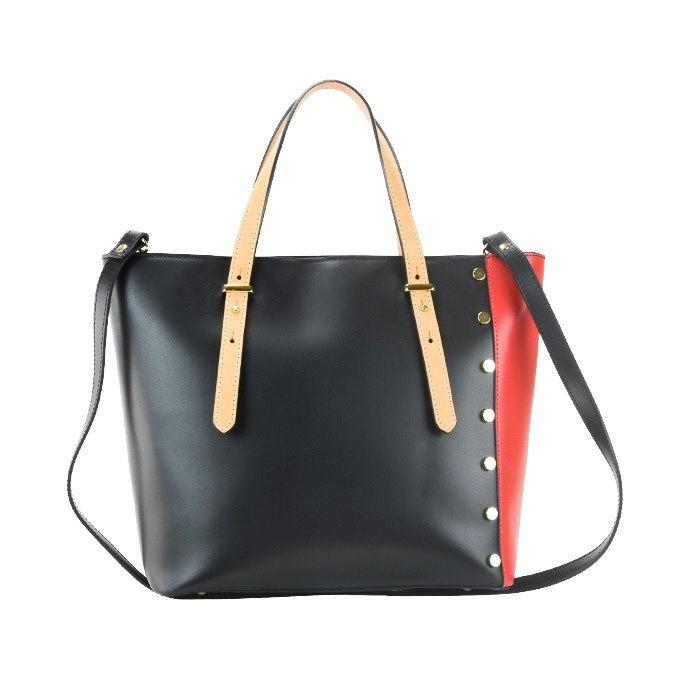 Large Top - Zip Leather Tote Bag, Black/Red