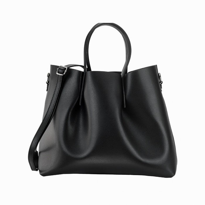 Large Pebbled Leather Bag, Black