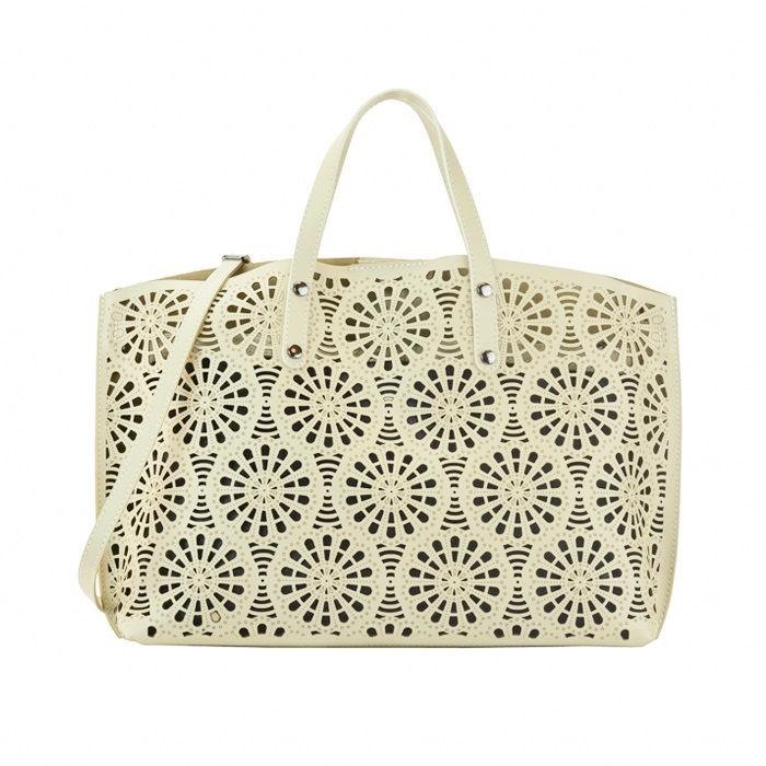 Large Smooth Leather Handbag, Cream