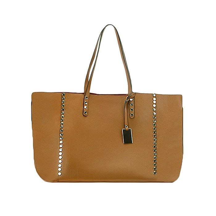 Large Flat Soft Leather Shopping Tote Bag, Brown