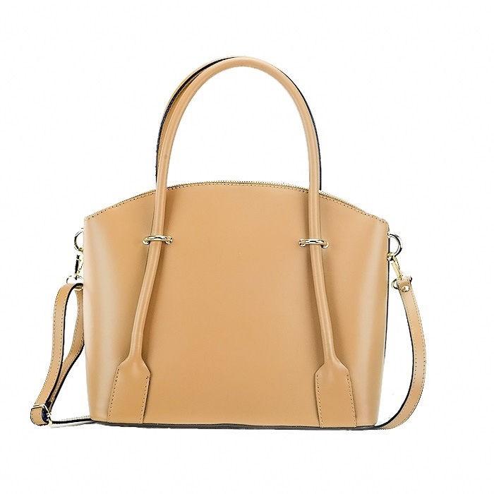 Medium Calfskin Leather Satchel Bag, Cognac