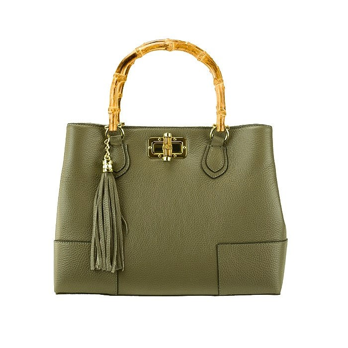 Bamboo Handle Leather Satchel Bag, Dark Taupe