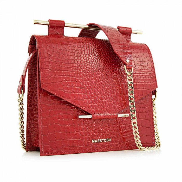 Medium Crocodile-Stamped Square Handbag, Red