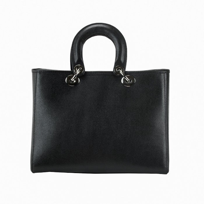 Small Saffiano Leather Top Handle Bag, Black