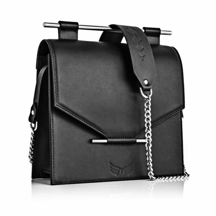Medium Square Calfskin Leather in Black