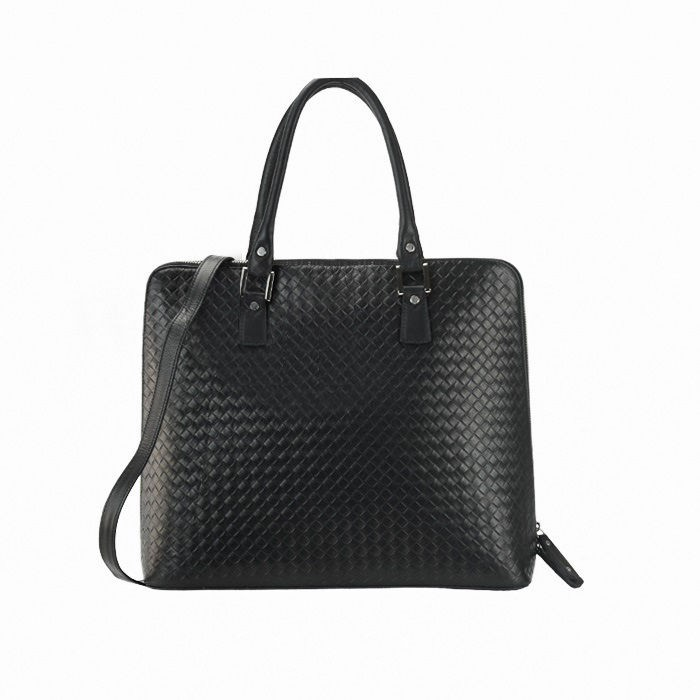 Medium Woven-Embossed Leather Tote Bag, Black