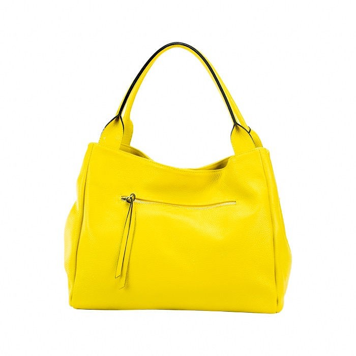 Textured Leather Satchel Bag, Yellow