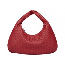Large Intereciata Woven Leather Hobo Bag , Bordeaux