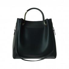 Medium Leather Bucket Bag, Black