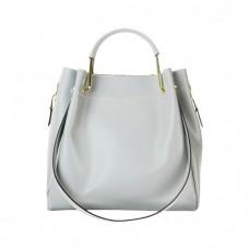 Medium Leather Bucket Bag, Silver / Gray