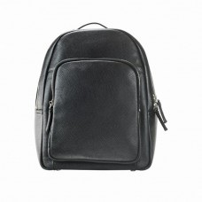 Men's Grained Leather Backpack. Black