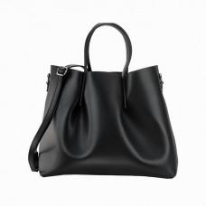 Large Pebbled Leather Bag, Black