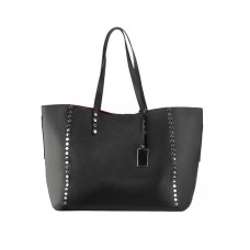 Large Soft Leather Shopping Tote Bag, Black