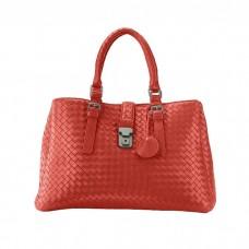 Medium Woven Leather Multi- Compartments Satchel Bag, Claret