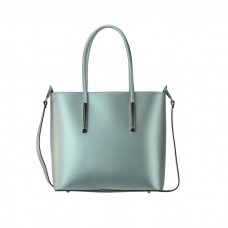 Medium Grained Leather Tote Bag, Silver