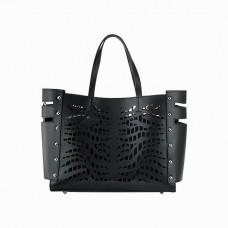 Medium Smooth Leather Tote Bag, Black