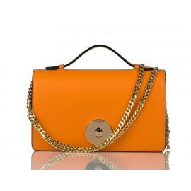 Small Top-Handle Calfskin Chain Crossbody Bag, Orange