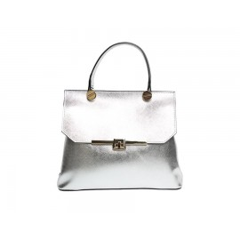 Mini Calf Grained Leather Satchel Bag, Silver