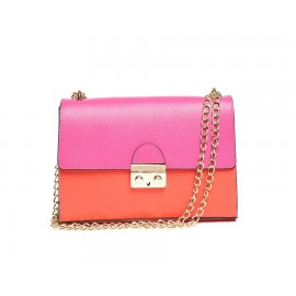 Medium Push-Lock Chain Shoulder Bag, Red / Fuchsia