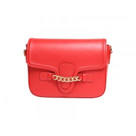 Flap Calfskin Leather Shoulder Bag, Red