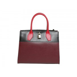 Small Multi-Colored Leather Satchel Bag, Black/Mahogany/Red