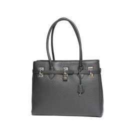 Small Pebbled Leather Lux-Zip top Handle, Black